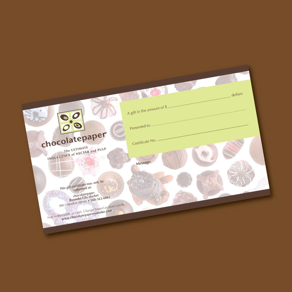 Gift Certificate Chocolatepaper